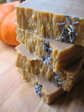 Libby and Lavender Hot Process Pumpkin Soap - Organic Pumpkin Puree, Molasses, Lavender Essential Oil...