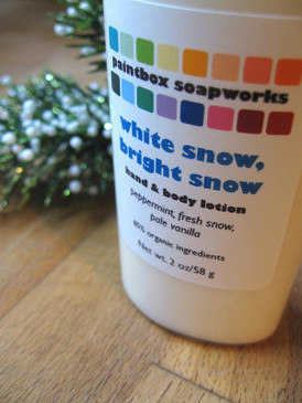 White Snow, Bright Snow Organic Hand and Body Lotion SAMPLE SIZE - Peppermint, Fresh Snow, Pale Vanilla... Yuletide Limited Edition
