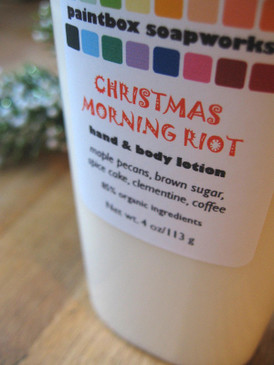 Christmas Morning Riot Organic Hand and Body Lotion - Maple Nuts, Brown Sugar, Clementines, Coffee... Yuletide Limited Edition