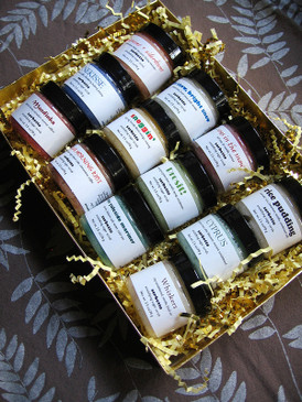 The Season of Scrubbiness Gift Set - A Dozen SAMPLE SIZE Sorbetto Emulsifying Sugar Scrubs in a Gold Presentation Box