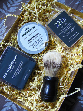 The Holmes Gift Set - Full Sized Body & Shaving Soaps, Wax Melts & Shaving Brush in a Gold Presentation Box...