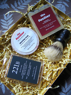 The Watson Gift Set - Full Sized Body & Shaving Soaps, Wax Melts & Shaving Brush in a Gold Presentation Box...