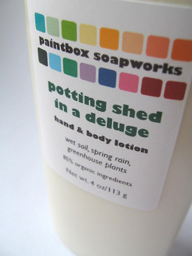 Potting Shed in a Deluge Organic Hand and Body Lotion - Wet Dirt, Spring Rain, Greenhouse Plants... Spring Limited Edition