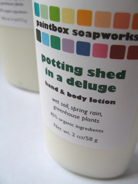 Potting Shed in a Deluge SAMPLE SIZE Organic Hand and Body Lotion - Wet Dirt, Spring Rain, Greenhouse Plants... Spring Limited Edition