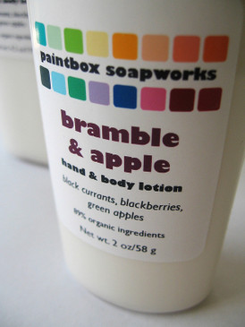 Bramble and Apple SAMPLE SIZE Organic Hand and Body Lotion - Black Currant, Blackberry, Green Apple.. Limited Edition