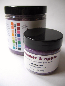 Bramble and Apple SAMPLE SIZE Sorbetto Emulsifying Sugar Scrub - Black Currant, Blackberry, Green Apple.. Limited Edition