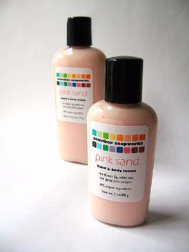 Pink Sand SAMPLE SIZE Organic Hand and Body Lotion - Rice Flower, Fig, White Tea, Sea Spray... Limited Edition