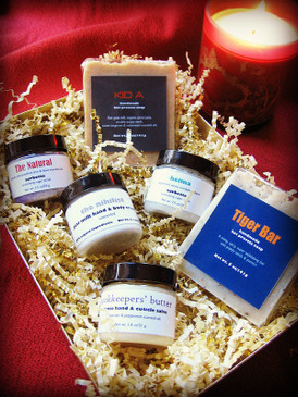 The Grubby Hands Gift Set - Exfoliating Soaps, Scrubs, & Hand Care in a Gold Presentation Box...