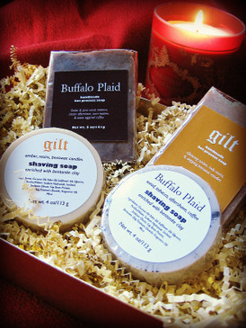 The Kris Kringle Gift Set - Two Handmade Yuletide Soaps with Matching Shaving Soaps in a Gold Presentation Box...