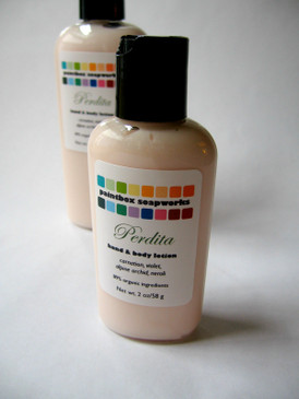 Perdita SAMPLE SIZE Organic Hand and Body Lotion - Carnation, Alpine Orchid, Violet, Neroli... Limited Edition