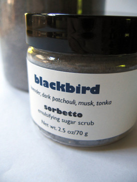 Blackbird Sorbetto Emulsifying Sugar Scrub SAMPLE SIZE - Lavender, Dark Patchouli, Musk, Tonka...