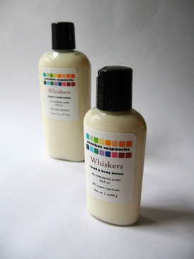 Whiskers Organic Hand and Body Lotion SAMPLE SIZE - Dry Sandalwood, Vanilla, Fresh Air... Original Formula