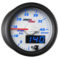White & Blue MaxTow High Pressure Oil Pressure HPOP Gauge