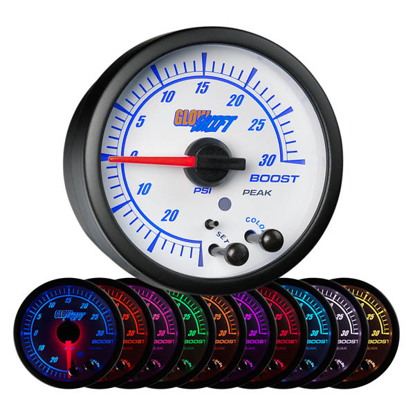 White Elite 10 Color 30 PSI Electronic Boost/Vacuum Gauge