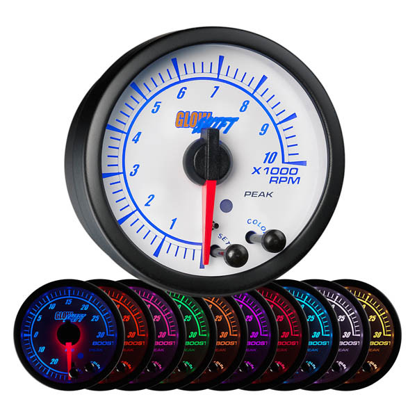 "White Elite 10 Color 2"" Tachometer Gauge"