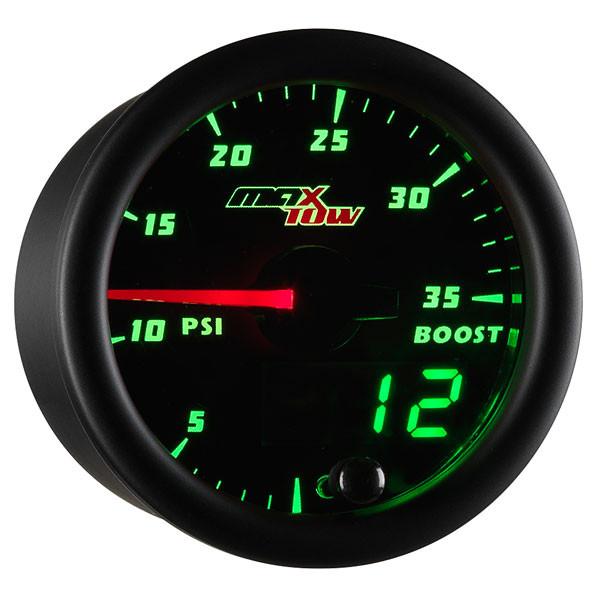 Black & Green MaxTow 35 PSI Boost Gauge