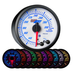 White Elite 10 Color Oil Temperature Gauge