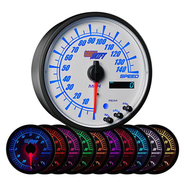 "White Elite 10 Color 3 3/4"" In Dash Speedometer Gauge"