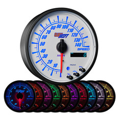 "White Elite 10 Color 3 3/4"" In Dash Speedometer Gauge"