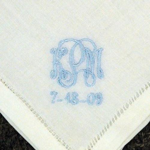 Something Blue Monogrammed Linen Handkerchief