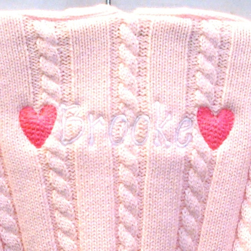 Personalized Baby Sweater with Hearts