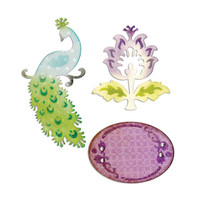 Sizzix Cut, Emboss & Stencil Thinlits Die Set 3PK - Peacock, Frame & Flower