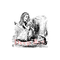 """Deep Red Cling Stamps -  Alice w/Kittens 2"""" x 2"""""""