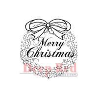 "Deep Red Cling Stamps -  Christmas Wreath W/Sentiment 2"" x 2"""