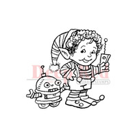 "Deep Red Cling Stamps -  Elf Robot 2"" x 2"""