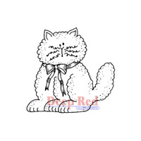 "Deep Red Cling Stamps -  Fluffy Cat 2"" x 2"""