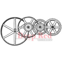 """Deep Red Cling Stamps -  Gears & Pulleys 3.1"""" x 1.5"""""""
