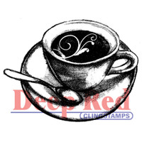 """Deep Red Cling Stamps -  Flourish Latte 2"""" x 1.6"""""""