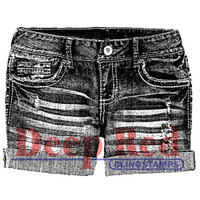 """Deep Red Cling Stamps -  Denim Shorts 2"""" x 2"""""""