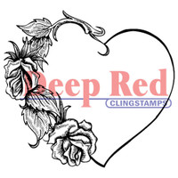 "Deep Red Cling Stamps -  Heart W/Roses 2.2"" x 2"""