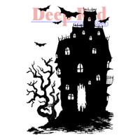 "Deep Red Cling Stamps -  Haunted House 2""X3"""