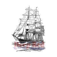 "Deep Red Cling Stamps -  Clipper Ship 2"" x 3"""