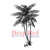"Deep Red Cling Stamps -  Coconut Palms 2"" x 2"""