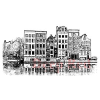 "Deep Red Cling Stamps -  Amsterdam Water Front 4""X2.5"""