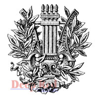 "Deep Red Cling Stamps -  Ancient Laurel  3""X3.25"""