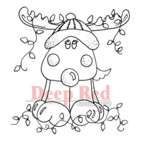 """Deep Red Cling Stamps -  Decorated Reindeer 3"""" x 3"""""""