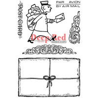 """Deep Red Cling Stamps - Mailman Postcard 4""""X6"""""""