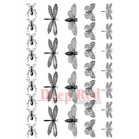 """Deep Red Cling Stamps - Dragonflies & More  4"""" x 6"""""""