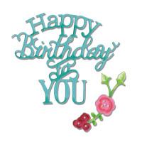 Sizzix Thinlits Die Set 3PK - Phrase, Happy Birthday to You