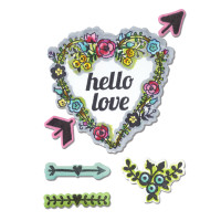 Sizzix Framelits Die Set 7PK with Stamps - Hello Love