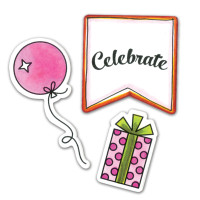 Sizzix Framelits Die Set 4PK with Stamps - Happy Birthday to You