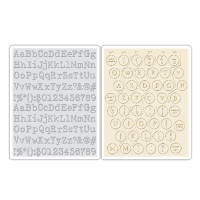 Sizzix Texture Fades Embossing Folders 2PK - Typewriter & Keyboard Set by Tim Holtz