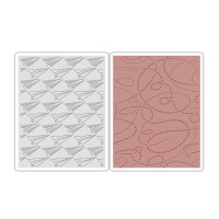Sizzix Texture Fades Embossing Folders 2PK - Paper Airplane & Dotted Lines Set by Tim Holtz