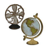 Sizzix Movers & Shapers Magnetic  Dies - Vintage Fan & Globe