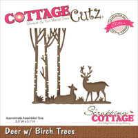 CottageCutz Die - Deer W/Birch Trees