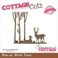 CottageCutz Die - Deer W/Birch Trees